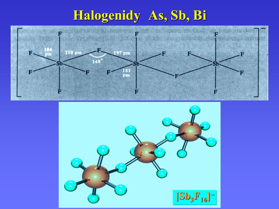 Halogenidy As, Sb, Bi [Sb3F16] –